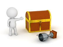3D Character Showing Treasure Chest and Silver Trophy Royalty Free Stock Photos