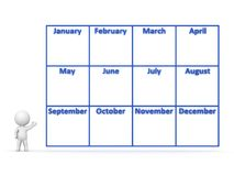 3D Character showing Year Calendar with 12 Months Stock Image
