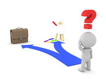 3D Character shown two choices - Passion dreamor Job Career. 3D Character shown two choices - Passion dream or Job Career. This image depicts the modern dilema Stock Image
