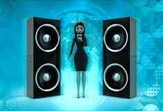 3d character sing on micr with speakers concept Royalty Free Stock Images