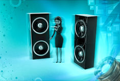 3d character sing on micr with speakers concept Stock Photo