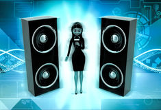 3d character sing on micr with speakers concept Royalty Free Stock Photo