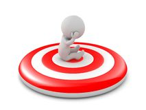 3D Character Sitting on Bullseye Target Royalty Free Stock Photography