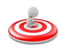 3D Character Sitting on Bullseye Target royalty free illustration