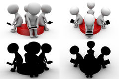 3d character sitting on disk concept collections with alpha and shadow channel Royalty Free Stock Images