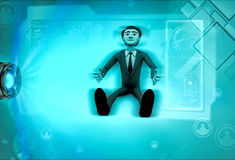 3d character sitting down and looking up with hope illustration Stock Photos