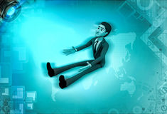 3d character sitting down and looking up with hope illustration Royalty Free Stock Image
