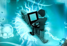 3d character with sitting on email text and rking on laptop illustration Royalty Free Stock Photography