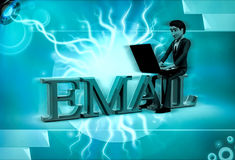 3d character with sitting on email text and rking on laptop illustration Stock Images