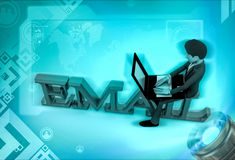 3d character with sitting on email text and rking on laptop illustration Stock Image