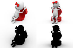 3d character sitting on heart concept  collections with alpha and shadow channel Stock Image