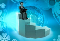 3d character sitting with laptop on staircase illustration Stock Photography