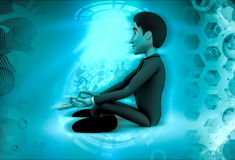 3d character sitting in meditation illustration Stock Images