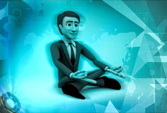 3d character sitting in meditation illustration Royalty Free Stock Photos