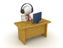 3D Character sitting at an office desk wearing headphones lookin Royalty Free Stock Images