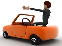 3d character sitting in a orange taxi car concept Stock Photos