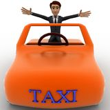 3d character sitting in a orange taxi car concept Stock Images