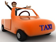3d character sitting in a orange taxi car concept Stock Photography