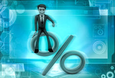 3d character sitting on percentage sign illustration Royalty Free Stock Photos