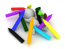 3D Character sitting in a pile of large pencils. Image could be used to convey creativity Royalty Free Stock Image