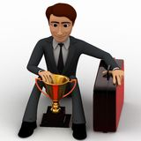3d character sitting with prize cup and suitcase concept Royalty Free Stock Photo