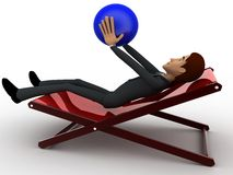 3d character sitting on resting chair holding blue globe in hand concept Royalty Free Stock Photos