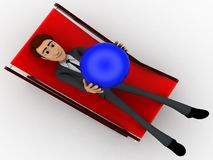 3d character sitting on resting chair holding blue globe in hand concept Royalty Free Stock Photography