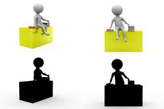 3d character sitting on table concept collections with alpha and shadow channel Stock Image