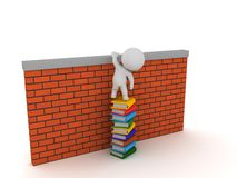 3D Character sitting on top of books climbing over wall Royalty Free Stock Photography