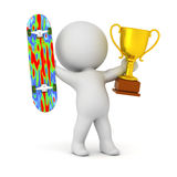 3D Character with Skateboard and Gold Trophy Royalty Free Stock Photo