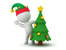 3D Character and a Small Christmas Tree Stock Image
