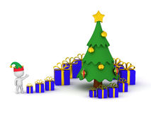 3D Character with Small and Large Gifts and Christmas Tree Royalty Free Stock Photo