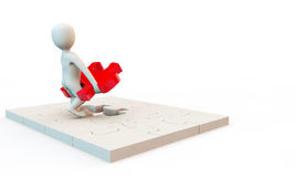 3D character solving problem stock illustration