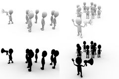 3d character speaker and crowd concept collections with alpha and shadow channel Stock Photos