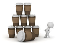 3D Character and Stack of Coffee Cups Stock Photography