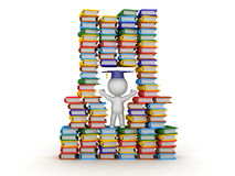 3D Character In Stack of Colorful Books Stock Image