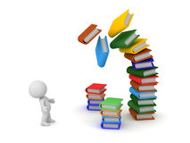 3D Character with Stacks of Books. 3D character looking up at a large stack of colorful falling books. Isolated on white background Stock Photography