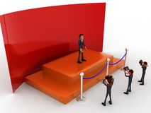3d character on stage before photographers and press concept Royalty Free Stock Images