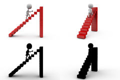 3d character stairs conept collections with alpha and shadow channel Royalty Free Stock Photo
