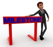 3d character standing aside milestone text concept Royalty Free Stock Photography