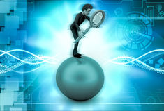 3d character standing on the ball with magnifying glass illustration Royalty Free Stock Photo