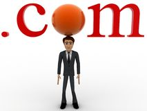 3d character standing with .com text concept Stock Images