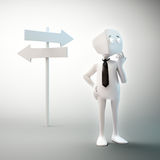 3D character standing on the crossroads. A 3D cartoon character standing on the crossroads stock illustration