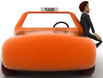3d character standing outside orange taxi cab concept Stock Images