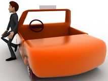 3d character standing outside orange taxi cab concept Stock Photography
