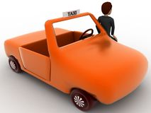 3d character standing outside orange taxi cab concept Royalty Free Stock Images