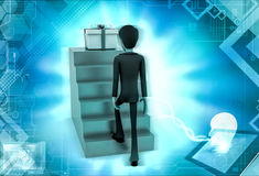 3d character stepping up towards gift illustration Stock Photography