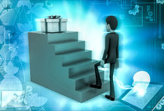 3d character stepping up towards gift illustration Royalty Free Stock Photo