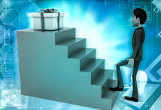 3d character stepping up towards gift illustration Royalty Free Stock Photography
