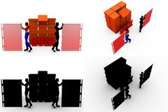 3d character storage concept Collections With Alpha And Shadow Channel Stock Photos